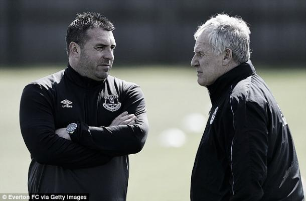 David Unsworth and Joe Royle discuss tactics as they watch over a training session at Finch Farm. | Photo: Everton FC