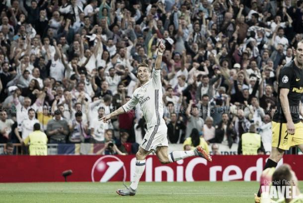 Cristiano celebra un gol en las semifinales de Champions ante el Atlético/Foto: Vavel