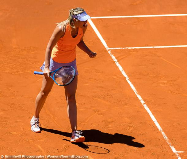 Maria Sharapova celebrates after winning a point during her first-round victory over Mirjana Lucic-Baroni at the 2017 Mutua Madrid Open. | Photo: Jimmie48 Tennis Photography