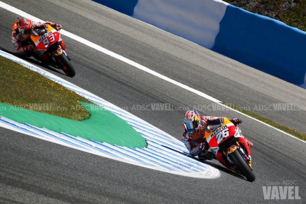 Pedrosa y Márquez durante el GP de España / Foto: Lucas ADSC