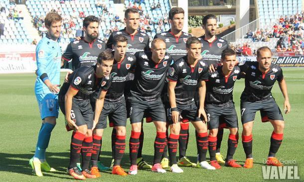 Formación del Numancia en el último encuentro contra el Almería   Fuente: David García (VAVEL)