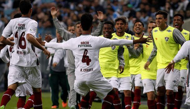 Renato Chaves abriu o placar logo no início do primeiro tempo. No fim, foi o único gol marcado pelo Flu (Foto: Nelson Perez / Fluminense)