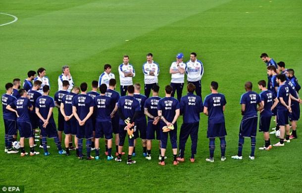 La plantilla en el último entrenamiento antes del partido contra Bélgica. Fuente; mail