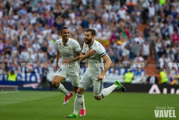 Nacho Fernández celebra su gol 'de listo'. Imagen: Daniel Nieto (VAVEL)