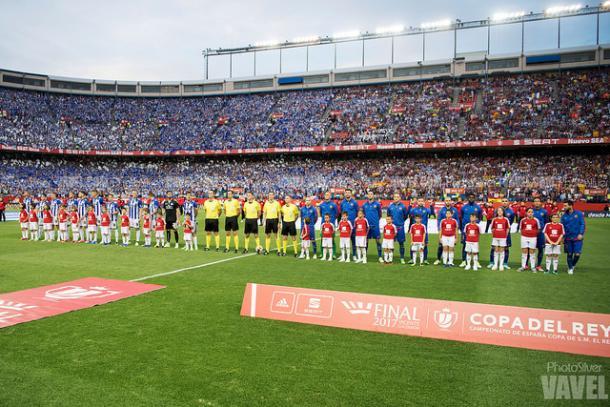 Presentación del Deportivo Alavés y Barcelona en la Final de Copa del Vicente Calderón. Fuente: vavel
