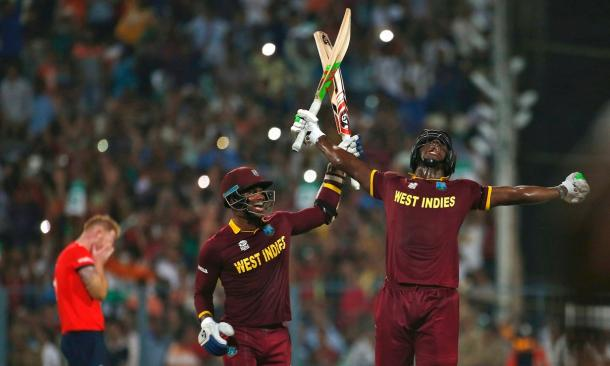 Brathwaite celebrates after winning the World T20. (Photo: Adnan Abidi/Reuters)