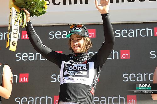 Peter Sagan en el podio   Fuente: Bora-Hansgrohe