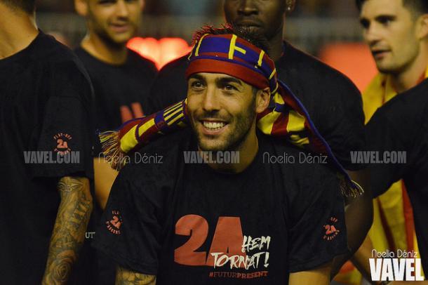 Perea, durante la celebración del ascenso a Segunda A con el Barça B   Foto: Noelia Déniz - VAVEL