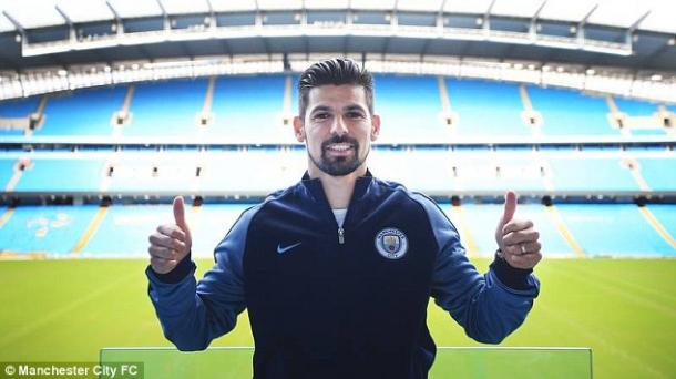 Above: Nolito been unveiled as a Manchester City player | Photo: Manchester City FC