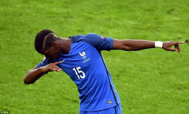 Pogba dabs after scoring against Iceland (photo; EPA)