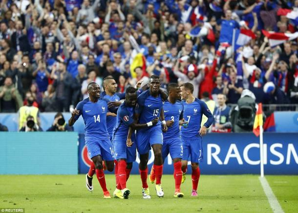 Above: France celebrating Paul Pogba's goal in their 5-2 win over Iceland | Photo: Reuters