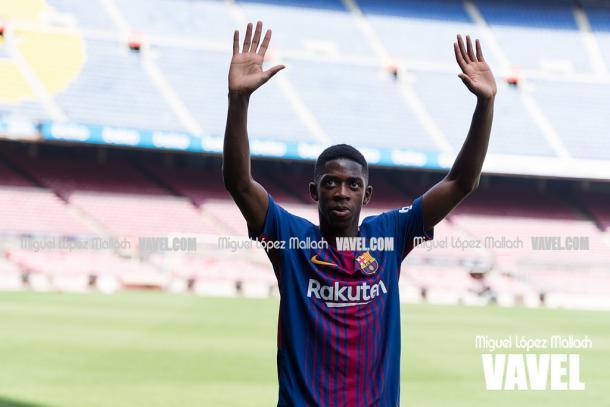 Dembélé, en su presentación como nuevo jugador del FC Barcelona | Foto: VAVEL.com, Miguel López