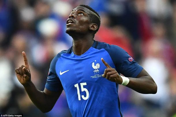 Above: Manchester United's newest addition Paul Pogba in action for France during Euro 2016   Photo: AFP/Getty Images