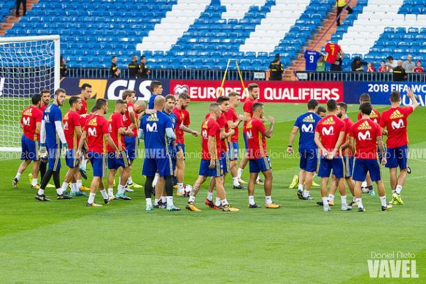 La plantilla al completo de la Selección Española en un entrenamiento I Foto: Daniel Nieto (VAVEL)