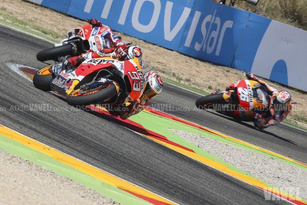 Márquez, Lorenzo y Pedrosa durante el GP de Aragón / Foto: Lucas ADSC