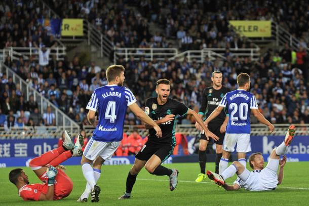 Borja Mayoral en su gol a la Real Sociedad en Anoeta I Foto: Real Madrid