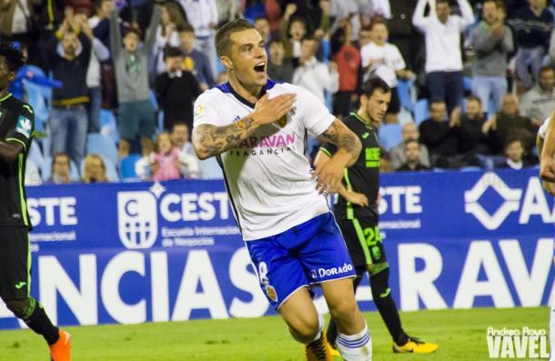 Pombo celebra su gol de penalti | Foto: Andrea Royo / VAVEL