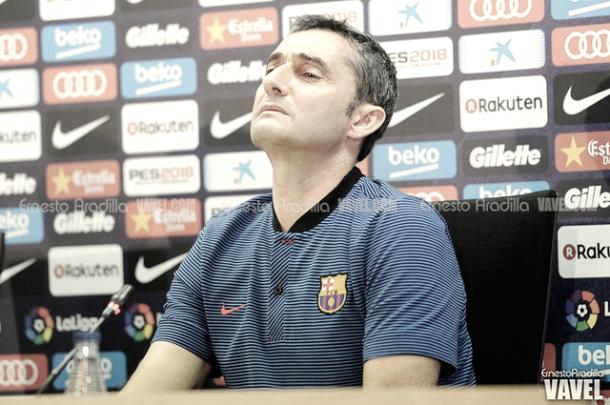 El técnico Ernesto Valverde en la rueda de prensa previa al partido del Atlético   Foto: Ernesto Aradilla - VAVEL