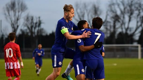Juveniles del Chelsea celebrando un gol ante el Atlético de Madrid | Imagen: Chelsea FC