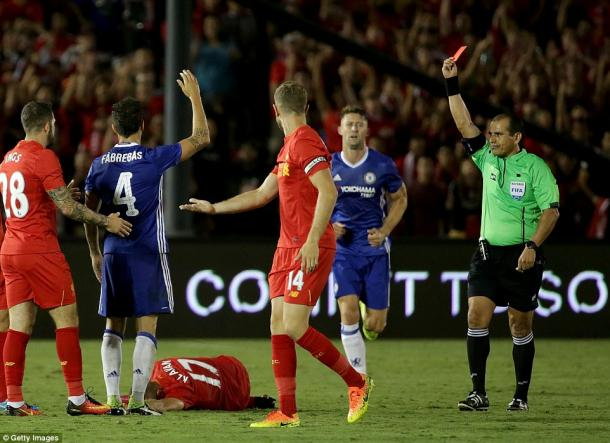 Cesc Fabrergas been sent off in Chelsea's 1-0 win over Liverpool | Photo: Getty Images