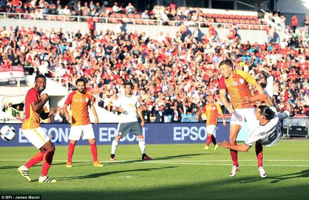 Above: Zlatan Ibrahimovic striking home in Manchester United's 5-2 win over Galatasaray   Photo: BPI / James Marsh