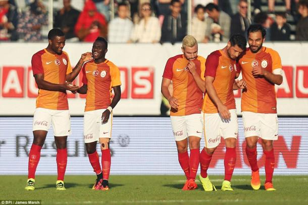 Above: A collective of Galatasaray players celebrating in their 5-2 defeat to Manchester United | Photo: BPI / James Marsh