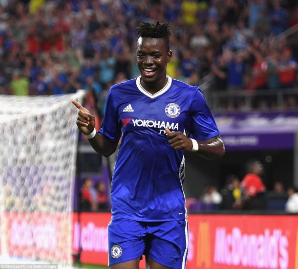 Above: Bertrand Traore celebrating his goal in Chelsea's 3-1 win over AC Milan | Photo: Chelsea FC via Getty Images