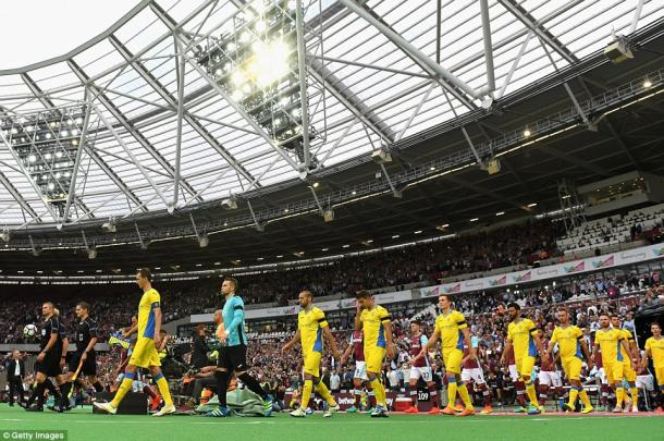 Above: West Ham and NK Domzale walking out ahead of their 3-0 win over the Slovenian side | Photo: Getty Images