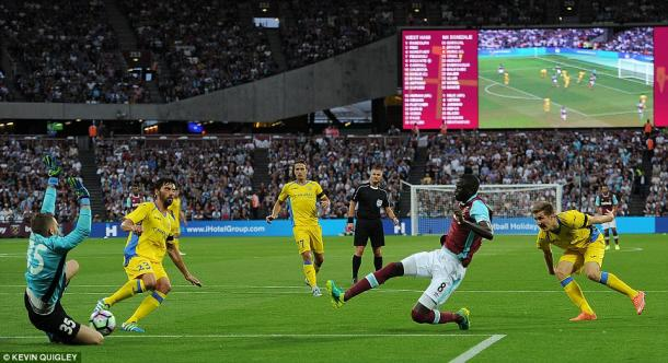 Above: Cheikho Kouyate stabbing home one of his two goals in West Ham's 3-0 win over NK Domzale | Photo: Kevin Quigley