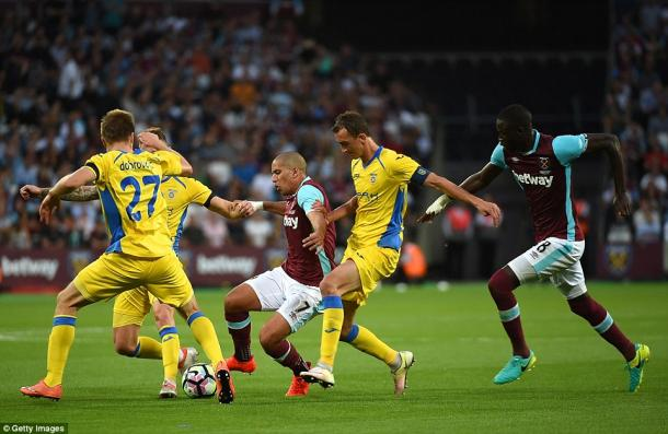 Above: Sofiane Feghouli in action during West Ham United's 3-0 win over NK Domzale | Photo: Getty Images