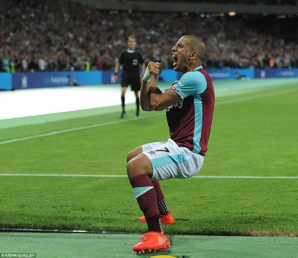 Above: Sofiane Feghouli celebrating his goal in West Ham's 3-0 win over NK Domzale | Photo; Kevin Quigley