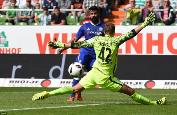Chelsea's Diego Costa striking home in heir 4-2 win over Werder Bremen. | Photo: AP