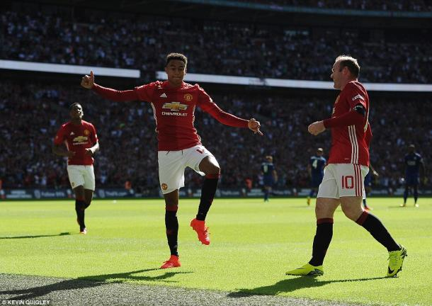 Above: Jesse Lingard celebrating his goal in Manchester United's 2-1 win over Leicester City | Photo: Kevin Quigley