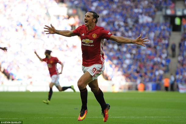 Above: Zlatan Ibrahimovic celebrating his goal in Manchester United's 2-1 win over Leicester City | Photo: Kevin Quigley