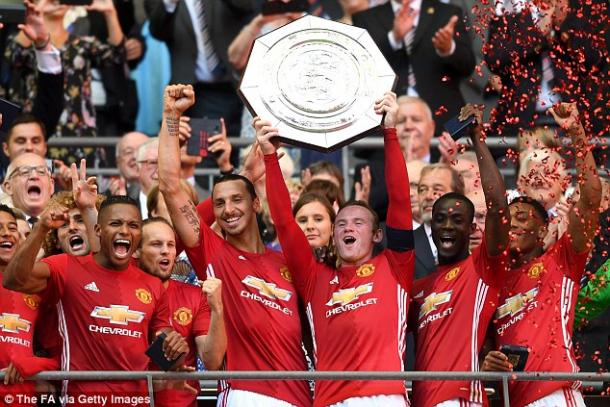 Above: Manchester United celebrating their Community Shield victory over Leicester City | Photo: The FA via Getty Images