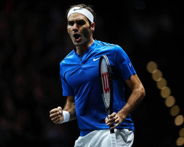 Roger Federer clinched the Laver Cup title for Team Europe in 2017. Photo: Laver Cup