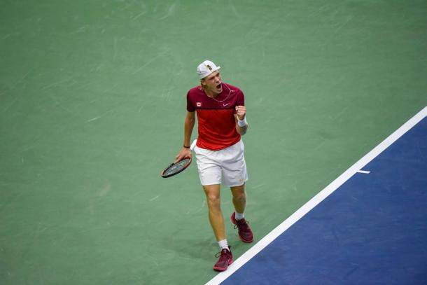 Denis Shapovalov celebrates during his comeback win in Canada's playoff victory. Photo: F10 Sports Photography/Davis Cup