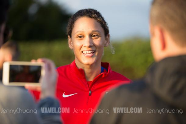 Lynn Williams, during the January training camp, was injured while away with the USWNT | Source: Jenny Chuang - VAVEL USA
