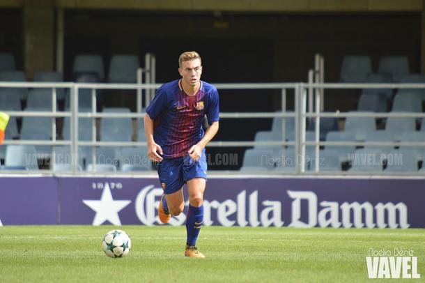Oriol Busquets durante el primer partido del Juvenil A en la UEFA Youth League en el Miniestadi | Foto: Noelia Déniz - VAVEL