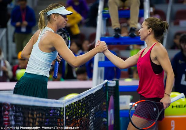 Respect: Maria Sharapova and Simona Halep meet at the net after their third-round battle at the 2017 China Open. | Photo: Jimmie48 Tennis Photography