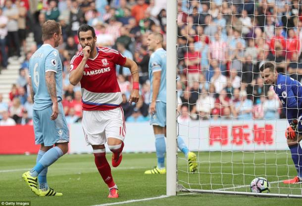 Alvaro Negredo celebrating his goal in Middlesbrough's 1-1 draw with Stoke City | Photo: Getty Images
