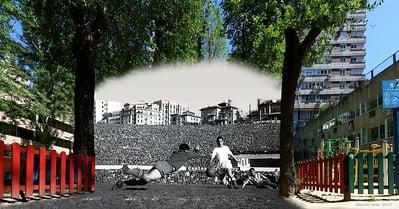 Comparación Abril de 2017, y 3 de Abril de 1955, Estadio Metropolitano de Madrid, Liga y Derby: Atlético de Madrid-Real Madrid (2-4). El portero del Atlético Menéndez, trata de evitar el tiro de Gento / Fuente: Flickr VAVEL España