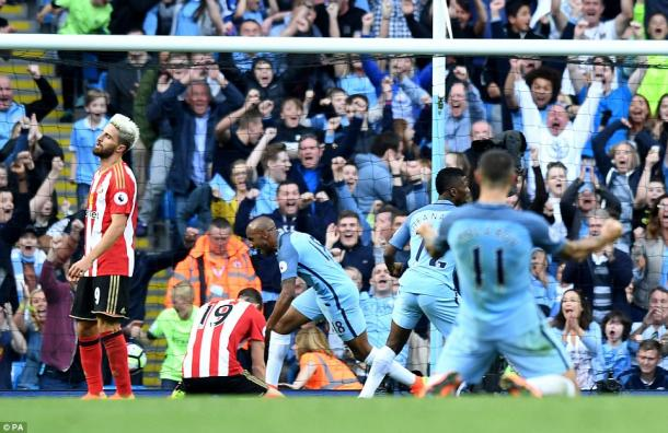 Above: Paddy McNair on his knees after his own goal in Sunderland's 2-1 defeat to Manchester City | Photo: PA
