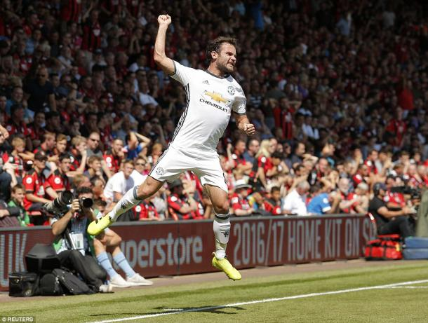 Above: Juan Mata celebrating his goal in Manchester United's 3-1 win over Bournemouth | Photo: Reuters