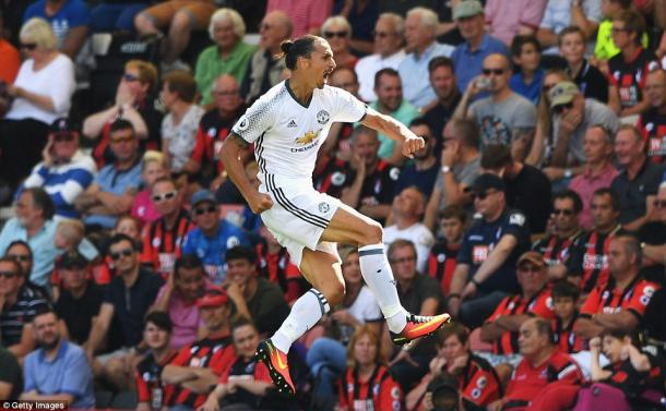 Above: Zlatan Ibrahimovic celebrating Manchester United's third goal in their 3-1 win over Bournemouth | Photo: Getty Images