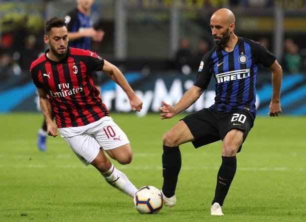 Borja Valero, en el derbi del pasado domingo. | Foto: FC Inter