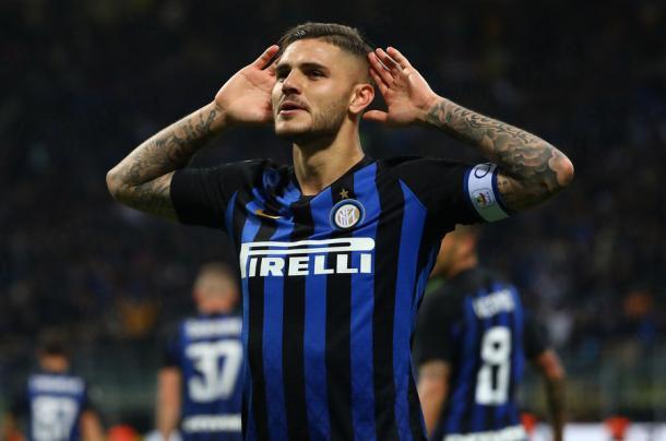 Icardi, celebrando el gol del triunfo en el derbi de Milán. | Foto: FC Inter