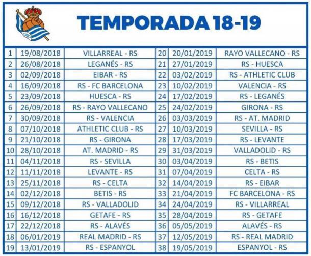 Calendario completo de la Real Sociedad. | Foto: Real Sociedad 
