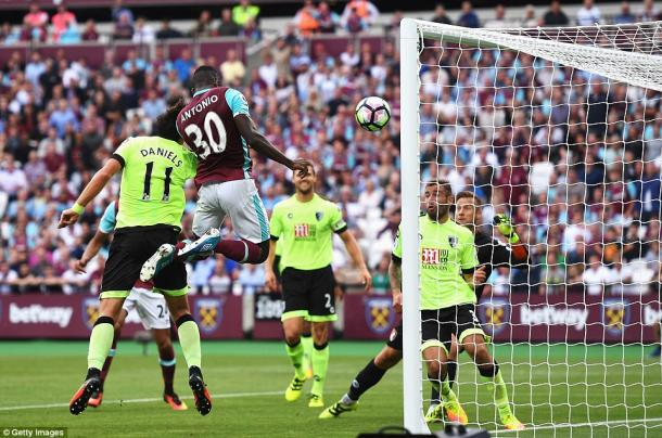 Above: Michail Antonio heading home the winning goal in West Ham's 1-0 win over Bournemouth | Photo: Getty Images