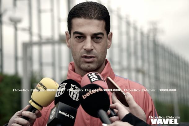 Gerard López entrevistado en la previa del partido. Foto: Noelia Déniz, VAVEL.com